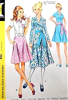 1970s McCALLS 2648 Day or Party Dress and Sash Flirty Gored Skirt 3 Versions Bust 34 Vintage Sewing Pattern UNCUT