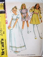 1970s CUTE Girls Empire Waist Dress Pattern McCALLS 2781 Three Sweet Style Includes Maxi Length Girls Size 7 Vintage Sewing Pattern FACTORY FOLDED