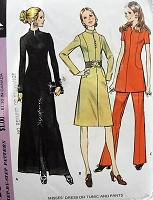 1970s  RETRO Dress, Tunic, and Pants Pattern McCalls 2949 Evening or Daytime Bust 38 Vintage Sewing Pattern FACTORY FOLDED