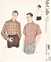 1950s  MID CENTURY Mens Pullover Sport Shirt Pattern McCALLS 3087 Tuck In or Overshirt Medium Size Vintage Gentlemens Sewing Pattern