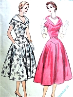 1950s PORTRAIT Neckline Party Cocktail Dress Pattern McCALLS 3136 Figure Flattering Style Bust 34 Vintage Sewing Pattern