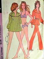 1970s FAB Beachwear Pattern McCALLS 3209 Cute Bikini Swim Suit,Smock Beach Cover Up or Top,Pants, Bust 38 Vintage Sewing Pattern FACTORY FOLDED