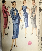 1950s STYLISH Easy To Sew 2Pc Suit and Blouse Pattern McCALLS 3331 Tuck in or Overblouse, Slim Skirt, Fab Jacket Details Bust 32 Vintage Sewing Pattern