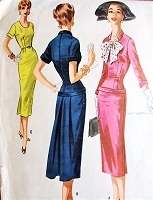 1950s CHIC Slim Cocktail Dinner Party Dress Pattern McCALLS 3353 Beautifully Fitted, Hip Cuff and Back Pleats, Day or Evening 3 Style Versions Bust 36 Vintage Sewing Pattern