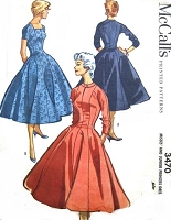 1950s LOVELY Princess Dress Pattern McCALLS 3470 Full Skirt Flattering Dress Bust 30 Vintage Sewing Pattern FACTORY FOLDED