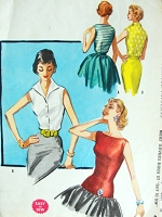 1950s GLAMOROUS Day or Evening Style Blouse Pattern McCALLS 3480 Two Beautiful Blouses V Neck Wing Collar or Glam Long Line Bateau Neckline Blouse Bust 32 Vintage Sewing Pattern