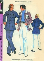 70s  RETRO Mens Leisure Suit Pattern Bradley Cooper American Hustle Style  Sports Jacket and Pants McCalls 3521 Vintage Sewing Pattern Chest 34