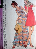 1970s Vintage BREEZY Sleeveless or Puff Sleeve V-Neck Dress McCall's 3562 Sewing Pattern Bust 32 1/2