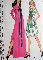 1970s Retro HAUTE Dress in Two Lengths with Ribbon Collar and Pockets McCalls 3592 Vintage Sewing Pattern Bust 31 1/2