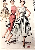 1950s FAB Slim or Full Skirt Dress Pattern McCALLS 3652 Bateau Neckline, Day or Party Bust 34 Easy To Sew Vintage Sewing Pattern