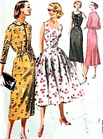 1950s LOVELY Day or Party Dress Pattern McCALLS 3682 Slim or Full Skirted Dress, Beautiful Design Details, Bust 30 Vintage Sewing Pattern
