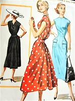1950s CHIC Cocktail Party or Day Instant Dress Pattern McCALLS 3742-A Sleek Slim Front,Beautiful Back Detail, Bust 34 Vintage Sewing Pattern
