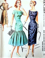 1950s GLAM Cocktail Party Dress Pattern McCALLS 3768 Two Styles Slim Sheath Dress With Back Panel or Flirty Mermaid Flounce Bust 38 Vintage Sewing Pattern