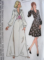 1970s Vintage CLASSY V-Neck Dress with Puffed Sleeves McCall's 3788 Sewing Pattern Bust 38