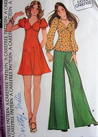 1970s Retro LOVELY High Waisted Dress or Top with Puffed Sleeves McCalls 3828 Vintage Sewing Pattern Bust 34