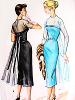 1950s STUNNING Evening Cocktail Party Dress Pattern McCALLS 3910 Empire Fitted Sheath With Floating Back Panel Bust 34 Vintage Sewing Pattern UNCUT