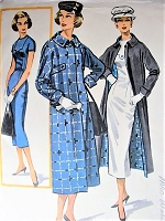 1950s CHIC Dress and Slim Coat Pattern McCALLS 3950 Fabulous REVERSIBLE Coat Day or Evening Bust 34 Vintage Sewing Pattern