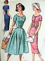 1950s PRETTY Dress with Slim or Full Skirt Vintage McCalls 3996 Sewing Pattern Bust 36