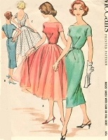 1950s STUNNING  Party Evening Cocktail Dress Pattern McCALLS 4039 Slim or Full Skirt, Low Back or Closed Versions, Bateau Neckline Bust 36 Vintage Sewing Pattern