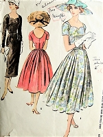 1950s CLASSIC Dress with Slim or Full Skirt Vintage Sewing Pattern McCall's 4042 Bust 34