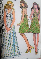 1970s Halter Dress Pattern McCALLS 4064 Pretty Formal Maxi Evening Gown or Mini Boho Formal Prom Dress Bust 34 Vintage Sewing Pattern