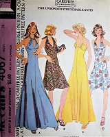 1970s Very Halston Style Evening Party Dress Pattern McCALLS 4067 Slinky Disco Era Halter Top Dress or Floor Length Gown Bust 36 Vintage Sewing Pattern