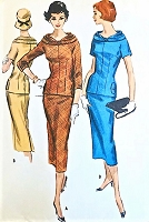 STUNNING 50s Two Pc Dress Pattern McCALLS 4186 Slim Skirt Longer Fitted Top With Beautiful Collar Neckline Bust 36 Vintage Sewing Pattern FACTORY FOLDED