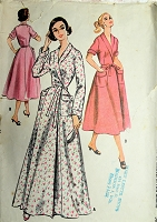 1950s LOVELY Housecoat or Negligee Pattern McCALLS 4202 Front Wrap Robe House Coat In 2 Lengths Bust 34 Vintage Sewing Pattern