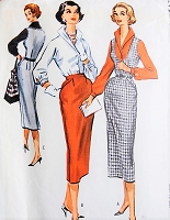 1950s FAB Fitted Jumper, Skirt and Wing Collar Blouse Pattern McCALLS 4264 Stunning Pencil slim Jumper or Skirt, Chic Blouse Bust 34 Vintage Sewing Pattern