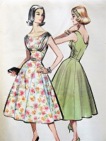 1950s BEAUTIFUL Evening Party Dress Pattern McCALLS 4355 Flattering Draped Bodice Bust 34 Vintage Sewing Pattern