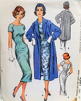 1950s CHIC Slim Dress and Coat Pattern McCALLS 4361 Beautiful Figure Show Off Dress and Straight Coat In 2 Lengths Bust 32 Vintage Sewing Pattern FACTORY FOLDED