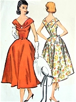 1950s BEAUTIFUL Party Cocktail evening Dress Pattern McCALLS 4433 Flattering Wide Open Neckline, Special Occasion Full Skirted Dress Bust 32 Vintage Sewing Pattern
