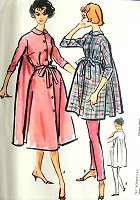 1950s CHIC Lounging Robe and Skinny Pants Pattern McCALLS 4635 Lovely Full Back Hostess Robein 2 Lengths Bust 32 Vintage Sewing Pattern