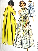 1950s GLAMOROUS Trapeze Style Robe Housecoat Lounging Coat Pattern McCALLS 4721 Lovely Design in 2 Lengths Bust 31 Vintage Sewing Pattern
