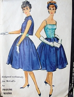 1950s BEAUTIFUL Pauline Trigère Cocktail Party Evening Dress and Bolero Jacket Pattern McCALLS 4731 Camisole Top Full Skirted Party Dress Exclusive Design Bust 34 Vintage Sewing Pattern