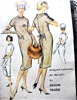 1950s GORGEOUS Pauline Trigere Cocktail Party Evening Chemise Dress Pattern McCALLS 4732 Bust 32 Vintage Sewing Pattern