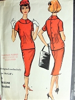 1950s Fabulous PAULINE TRIGERE Two Pc Dress Pattern McCALLS 4734 Button Back Top and Slim Pencil Skirt Day or Dinner After 5 Bust 34 Vintage Sewing Pattern
