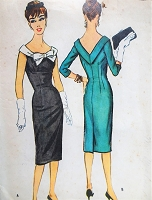 1950s CHIC Empire Sheath Dress Pattern McCALLS 4746 Beautiful Figure Flattering Design Day or Evening Bust 32 Vintage Sewing Pattern
