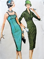 1950s GLAMOROUS Evening Cocktail Party Dress and Jacket Pattern McCALLS 4774 Camisole Top Slim Dress, Shortie Jacket, Bust 31 Vintage Sewing Pattern