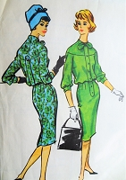 1950s CLASSY Blouson Slim ShirtWaist Dress Pattern McCALLS 4837 Chic Details Bust 38 Vintage Sewing Pattern