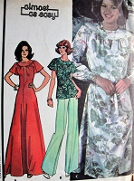 1970s Retro PRETTY Dress or Top in Three Styles McCall's 4924 Vintage Sewing Pattern Bust 38