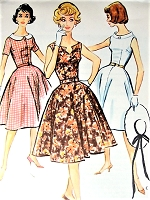 1950s PRETTY Full Skirted Dress Pattern McCALLS 4955 Choice of Three Fab Bodice Styles Day or Party Evening Styles Bust 34 Vintage Sewing Pattern