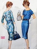 1950s  CHIC Slim Tw o Pc Dress Pattern McCALLS 4966 Classy Day or Cocktail Dinner Dress Bust 40 EASY To SEW Vintage Sewing Pattern