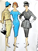 1950s CHIC  Sheath Dress and Short or Tunic Length Jacket Pattern McCALLS 5061 Figure Show Off Square Neckline Day or Cocktail Party Dress Bust 36 Vintage Sewing Pattern FACTORY FOLDED