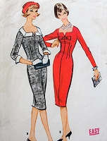 1950s STUNNING Slim Day or Cocktail Party Dress Pattern McCALLS 5070 Beautifully Fitted Easy To Sew Sheath Dress,2 Versions, Bust 34 Vintage Sewing Pattern