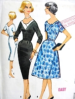 1950s STYLISH Slim or Full Skirt Easy To Sew Dress Pattern McCALLS 5110 Eye Catching Neckline Day or Cocktail Party Dress Bust 34 Vintage Sewing Pattern FACTORY FOLDED