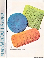 1970s VINTAGE SMOCKED PILLOWS CUSHIONS Pattern McCALLS 5262 Three Smocked Pillows Smocking Pattern Vintage Craft Pattern