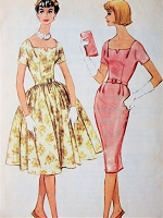 1960s LOVELY Full or Slim Skirt Dress Pattern McCALLS 5312 Beautiful Neckline, Day or Party Cocktail Dress Bust 32 Vintage Sewing Pattern