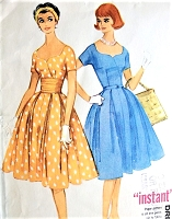 1960s BEAUTIFUL Sweetheart Neckline Dress Pattern McCALLS 5317 Day or Party Dress and Cummerbund Bust 34 Vintage Sewing Pattern FACTORY FOLDED