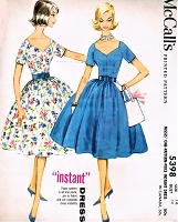 1960s BEAUTIFUL Dress Pattern McCALLS 5398 Day or Party Dress Full Skirt Lovely Shaped Neckline,Bust 34 Vintage Sewing Pattern FACTORY FOLDED
